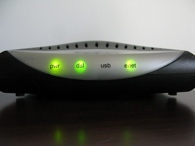 DSL Modem Lights ON