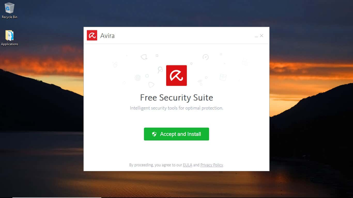 Avira accept and install