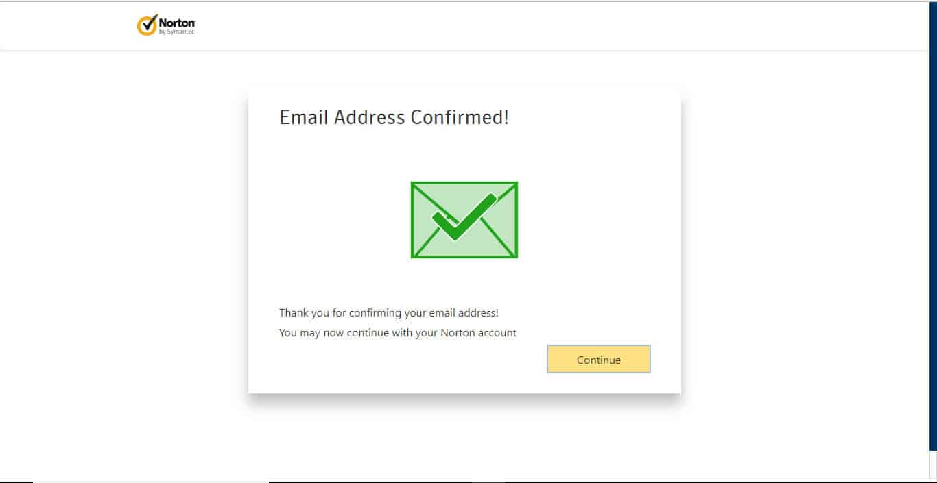 Norton Confirmed Email