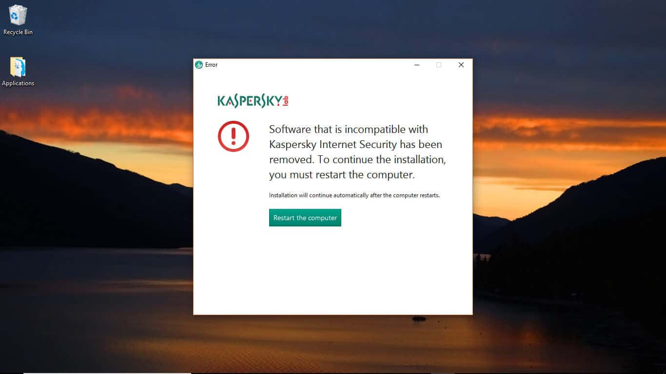 kaspersky other antivirus program detected